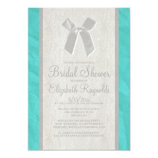 Teal Silver Vintage Bow Linen Bridal Shower Invite Custom Invitation