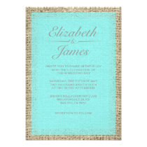 Teal & Silver Vintage Burlap Wedding Invitations Custom Announcements