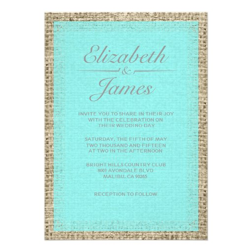Teal And Silver Wedding Invitations: Teal & Silver Vintage Burlap Wedding Invitations Custom
