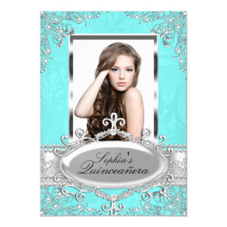 Teal Silver Vintage Glamour Photo Quinceanera Card
