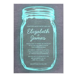 Teal Silver Vintage Mason Jar Wedding Invitations