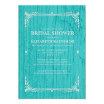 Teal Silver Western Barn Wood Bridal Shower Invite
