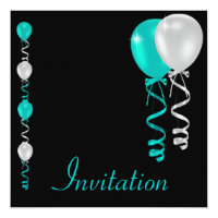 Teal Silver White Black Balloons Special Event Card