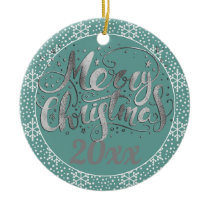 Teal Silver White Snowflakes Christmas Year Ceramic Ornament