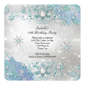 Teal Silver Winter Wonderland Snowflakes Party 2 Card