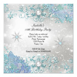 Teal Silver Winter Wonderland Snowflakes Party Card