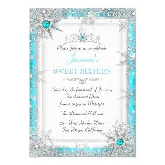 Teal Silver Winter Wonderland Sweet 16 Snowflake 5x7 Paper Invitation Card