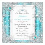 Teal Silver Winter Wonderland Sweet 16 Snowflake Card