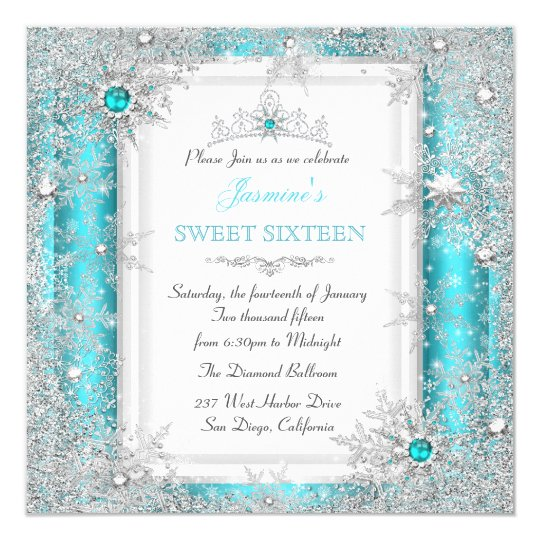 Teal Silver Winter Wonderland Sweet 16 Snowflake Card | Zazzle