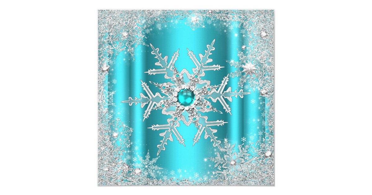 Teal Silver Winter Wonderland Sweet 16 Snowflake Card Zazzle