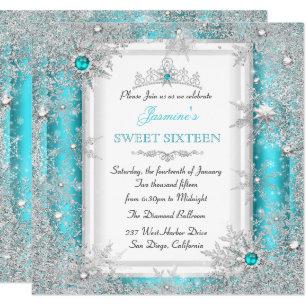 bf40888c16bf Teal Silver Winter Wonderland Sweet 16 Snowflake Invitation