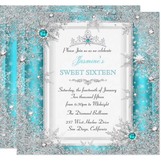 teal silver winter wonderland sweet 16 snowflake invitation zazzle com