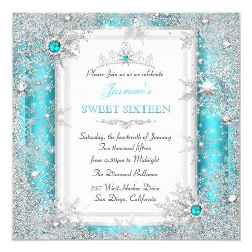 Teal Silver Winter Wonderland Sweet 16 Snowflake ...