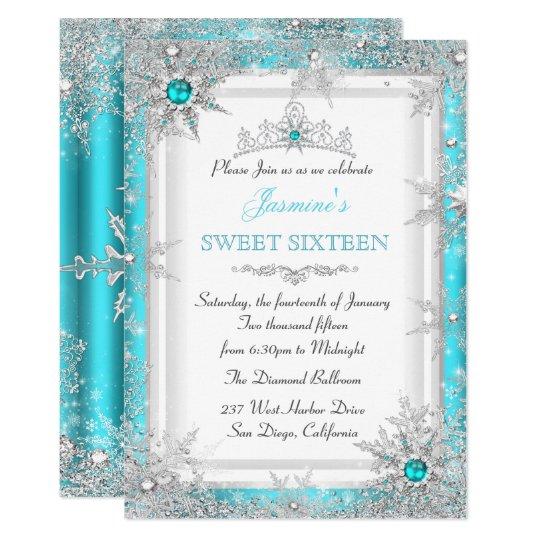 teal silver winter wonderland sweet 16 snowflake invitation zazzle com