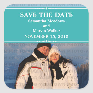 Teal Simple Chic Photo Save the Date Stickers
