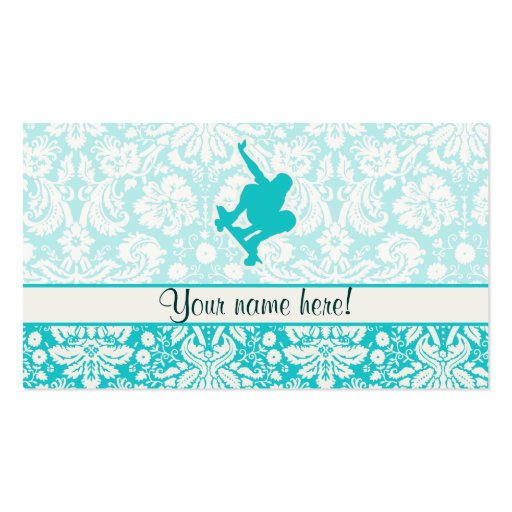 Teal Skateboarding Double-Sided Standard Business Cards (Pack Of 100)