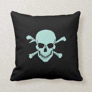 Teal Skull and Crossbones on black. Throw Pillow