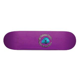 Teal Skull by Keren Richter Skateboard Deck