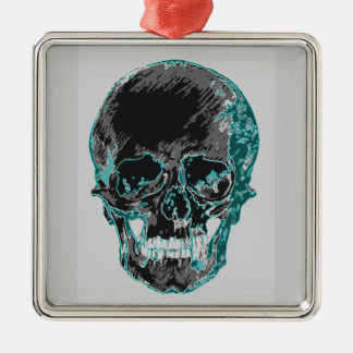 Teal Skull Design Metal Ornament