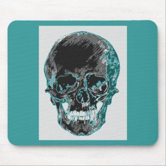 Teal Skull Design Mouse Pad