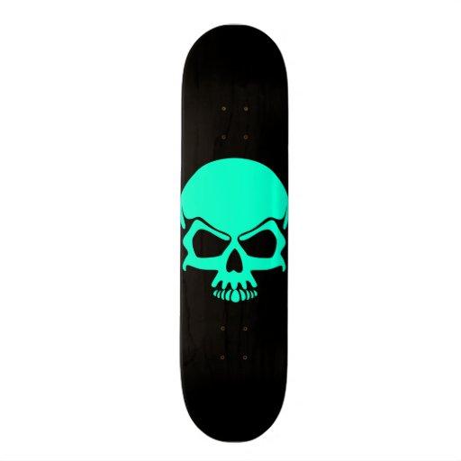 Teal Skull Skateboard