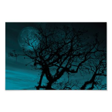 Halloween Themed Teal Sky and Bare branches Poster
