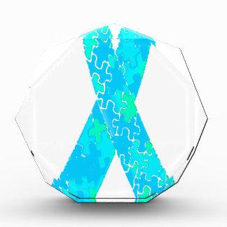 Teal Sky Blue Jigsaw Puzzle Pattern Ribbon Award