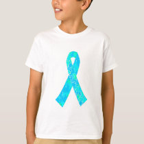 Teal Sky Blue Jigsaw Puzzle Pattern Ribbon T-Shirt