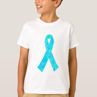 Teal Sky Blue Jigsaw Puzzle Pattern Ribbon T-Shirt