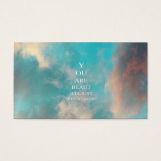 Teal Sky Blue Love Quote Business Card