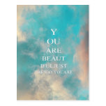 Teal Sky Blue Love Quote Postcard