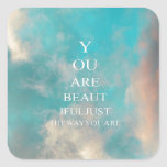 Teal Sky Blue Love Quote Square Sticker
