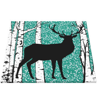 Teal Sky Buck Deer Birch Forest Wrapped Canvas