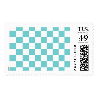 Teal Sky Checkerboard Postage Stamp