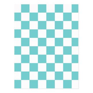 Teal Sky Checkerboard Postcard