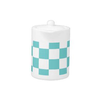 Teal Sky Checkerboard Teapot