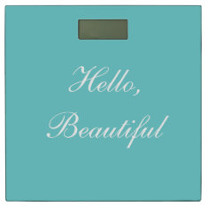 Teal Sky Custom Typography Message Bathroom Scale at Zazzle