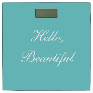 Teal Sky Custom Typography Message Bathroom Scale