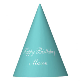 Teal Sky Happy Birthday Party Hats