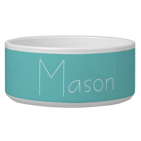 Teal Sky Personalized Pet Bowl