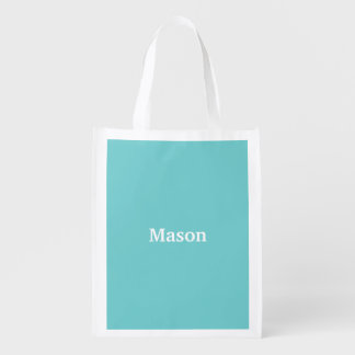 Teal Sky Personalized Reusable Grocery Bag