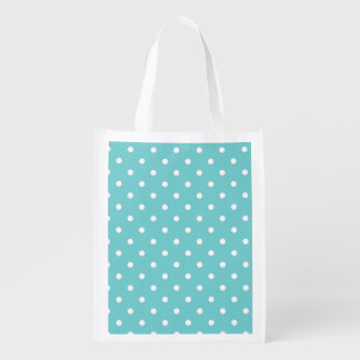 Teal Sky Polka Dot Reusable Grocery Bag