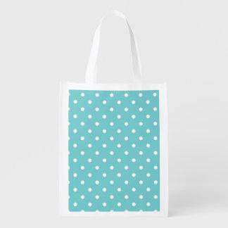Teal Sky Polka Dot Reusable Grocery Bag