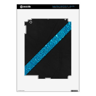 Teal snakeskin glitter effect stripe black leather decals for iPad 3