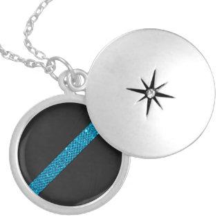 Teal snakeskin glitter effect stripe black leather round locket necklace