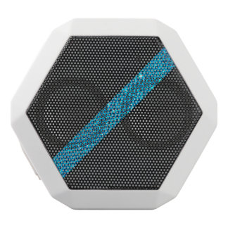 Teal snakeskin glitter effect stripe black leather white bluetooth speaker