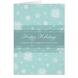Teal Snow Best Friend Happy Holidays Card