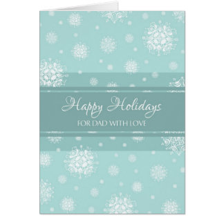 Teal Snow Father Happy Holidays Christmas Card