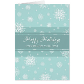 Teal Snow Grandpa Happy Holidays Christmas Card