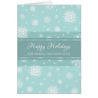 Teal Snow Parents Happy Holidays Christmas Card